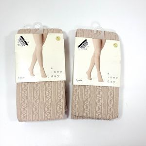 Lot of 2 A New Day Women's Cable Sweater Tights
